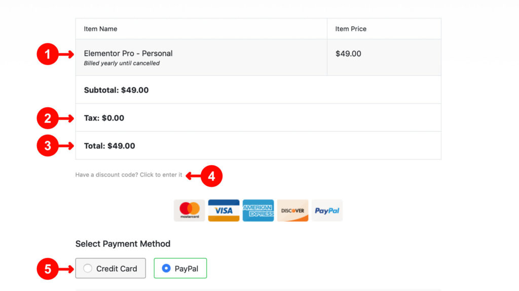 Elementor kaufen: Zahlungsdaten